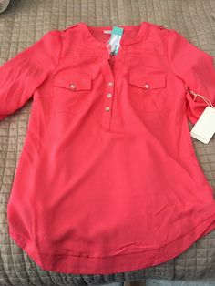one of my stitch fix favorites.  41 Hawthorne Filbert popover blouse in coral
