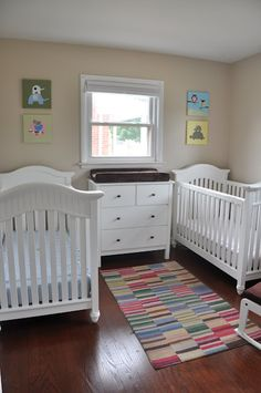 Soft and colorful boy and girl twin nursery. #twin #nursery