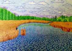 """Mer Bleue Bog Ottawa Canada is a colored drawing on watercolour paper 12"""" x 14"""" Suzanne-Berton.com Ottawa Canada, Watercolor Paper, Arts And Crafts, Drawings, Painting, Blue, Gift Crafts, Painting Art, Paintings"""