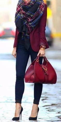 Tartan scarf, burgundy blazer/jacket, black skinny trousers (or blue black jeans), black point heels, bag, top- chic work look?