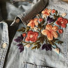 She says it's a work in progress but we think it's already hit boss level. Beautiful work by She says it's a work in progress but we think it's already hit boss level. Beautiful work by Denim Jacket Embroidery, Embroidery On Clothes, Embroidered Clothes, Hand Embroidery Stitches, Embroidery Fashion, Embroidery Hoop Art, Hand Embroidery Designs, Floral Embroidery, Jean Embroidery