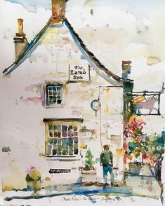 The Lamb In. Burford, England.By Charles Reid. NB: the windows