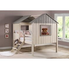 Full House Low Loft in Rustic Sand and Grey with Optional Drawers (Bed only), Gray, Donco Kids Casa Loft, Loft House, Safe Bunk Beds, Kid Beds, Dog Bunk Beds, Full House Twins, House Beds For Kids, Toddler House Bed, Tree House Beds