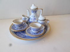 Vintage Porcelain Miniature TEA SET for Doll House  #unknown