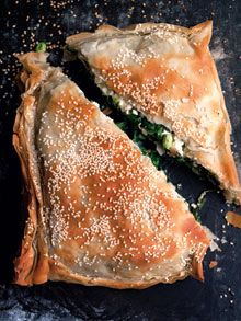 Nigel Slater's broad bean, feta and spinach pie. To use the broad beans we've not even sown yet