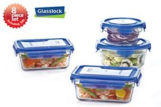 New Snaplock Lid Tempered Glasslock Storage Containers 8pc set with Blue LidsMicrowave  Oven Safe -- Want additional info? Click on the image.