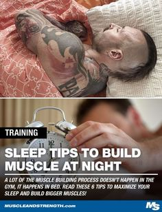 6 Critical Sleep Tips to Build More Muscle at Night is part of health-fitness - A lot of the muscle building process doesn't happen in the gym, it happens in bed Read these 6 tips to maximize your sleep and build bigger muscles Muscle Fitness, Gain Muscle, Build Muscle, Mens Fitness, Fitness Tips, Fitness Motivation, Health Fitness, Fitness Exercises, Muscle Food