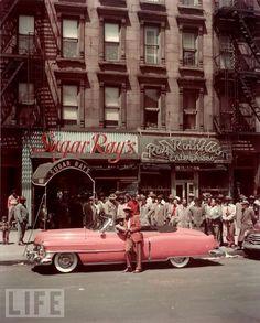 NYC. Harlem. 1940s. Sugar Ray Robinson's  pink car