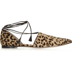 Gianvito Rossi Leopard-print calf hair point-toe flats ($600) ❤ liked on Polyvore featuring shoes, flats, sapatos, black flats, leopard shoes, black pointed toe flats, leopard print pointed toe flats and flat pumps