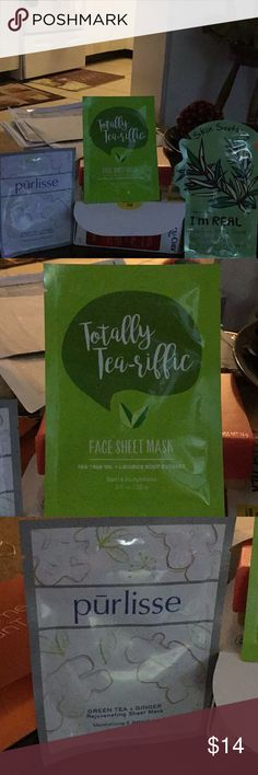 3pk NWT Tea Tree & Green Tea Soothing & Detox Mask 1) bath & body works totally tea-riffic face sheet mask tea tree oil & licorice root extract. 2) purlisse green tea + ginger rejuvenating sheet mask moisturizing & detoxifying. 3) tonymoly I'm real tea tree mask sheet skin soothing gets rid of uneven skin tone.  Make offer on set. free gift you pick. bundles save you 20%. bath & body works Makeup Luminizer