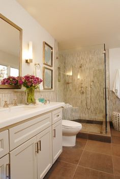 I like the flower arrangement.  Traditional Tiled Bathrooms Bathroom Design Ideas, Pictures, Remodel and Decor