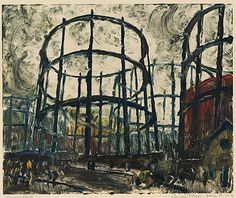 Gasometers, also called gas holders, were large tanks for storing coal gas and maintaining pressure in distribution lines. Landscape Prints, Urban Landscape, Landscape Art, Landscape Paintings, Museum Of Fine Arts, Source Of Inspiration, Printmaking, Photo Art, Illustration