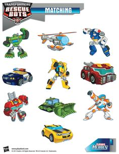 Be a hero and help our Transformers Rescue Bots find their vehicles! Playskool, Matching, Activity, Kids