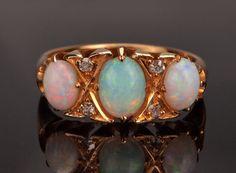 Antique Diamond Opal Ring 18k Gold 1902 in by BelmontandBellamy