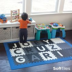 Create a playmat with your child's name or add a name to a larger playroom floor. With SoftTiles you can buy any letter in any of our colors to match the decor of your room. #playmat #playroom