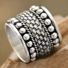 Balinese Wide Sterling Silver Band Ring - Moonlight Rivers | NOVICA