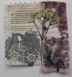 Textiles Techniques, Art Techniques, Cas Holmes, Oriental Flowers, Thread Art, Old Book Pages, Small Words, Nature Journal, Small Art
