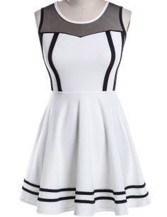 White Contrast Gauze Sleeveless Pleated Dress - Sheinside.com