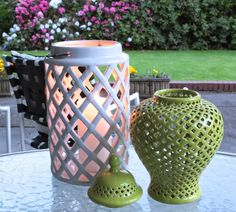 Add some candlelight to your backyard BBQ's with a ceramic diamond weave hurricane like this one from #HomeGoods. #HappybyDesign #sponsored