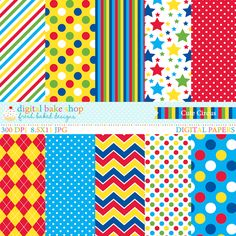Cute Circus Digital Papers Art Craft Store, Craft Stores, Arts And Crafts, Paper Crafts, Diy Crafts, Circus Party, Digital Papers, 2nd Birthday Parties, Paper Background