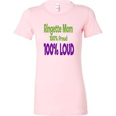 91a38178 Women's short sleeve Tshirt for Ringette Moms 100% Loud and Proud in Pink  White and Black at Amazon Women's Clothing store: