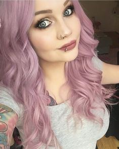 Marvelous Miss Mauve – looking dreamy in our Smokey Mauve - Best HairStyles For All Long Thin Hair, Short Hair With Bangs, Short Hair Cuts, Thick Hair, Face Shape Hairstyles, Hairstyles With Bangs, Braided Hairstyles, Bangs Hairstyle, Long Haircuts