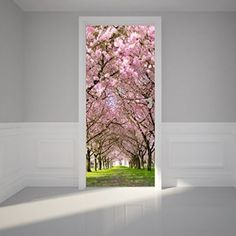 "Door Wall Sticker Cherry Blossoms Place - Self Adhesive Peel & Stick Repositionable Fabric Mural 31""w x 79""h (80 x 200cm)"