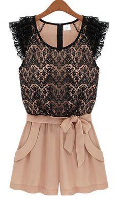 Black Lace Belted Jumpsuit ♥
