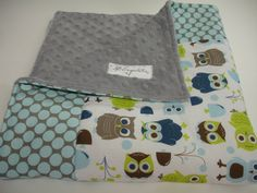 Modern Owls in Full Moon Polka Slate Baby Blanket with Minky 27 x 28 MADE TO ORDER. $32.00, via Etsy.