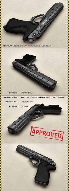 Sci-fi weapon: Iskhur concept handgun/pistol - views by peterku on deviantART #gun