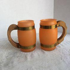 Orange Siesta Ware Frosted Mugs / Mid Century Modern Glassware