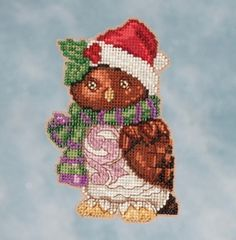 Jim Shore by Mill Hill - Owl JS20-1616 Christmas Ornament beaded counted cross stitch kit