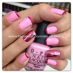 Metallic pink french