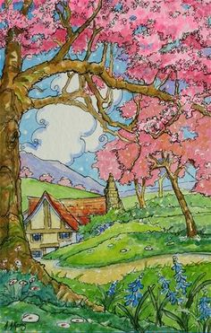 The Orchard Keepers Cottage Storybook Series - Original Fine Art for Sale - © Alida Akers