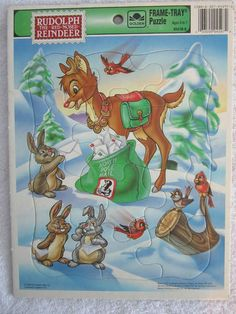 Vintage Rudolph the Red Nosed Reindeer 1993 Board Puzzle Frame Free Shipping