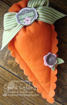 Pennant Die Felt Carrot treat holder...how cute would it be to decorate with carrot pennants instead of using it to hold treats?