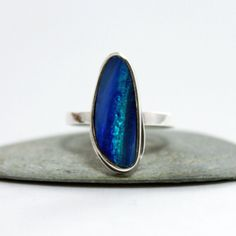 Australian opal Sterling Silver Ring/ Cocktail Ring/ by rosajuri, $98.00