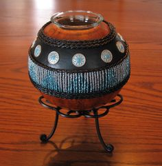 Turquoise and Silver Medallions Gourd Candle Holder with Metal Stand