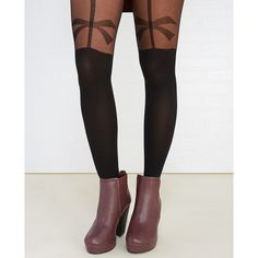 You And Me Legwear  Bow Garter Illusion Tights ($8.90) ❤ liked on Polyvore featuring intimates, hosiery, tights, black, wet seal, garter stockings, thigh high stockings, thigh-high tights and thigh high hosiery