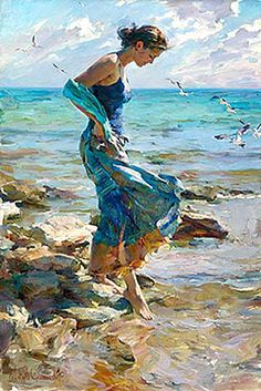 The Allure - Michael & Inessa Garmash on Paragon Fine Art Art Amour, Wow Art, Fine Art, Art Design, Graphic Design, Art Plastique, Beautiful Paintings, Beach Paintings, Art Paintings