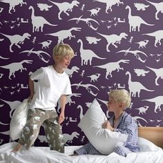 Dino wallpaper for the little boys room or the playroom!!