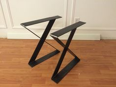 Flat steel X frame metal table or bench legs for an industrial look