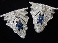 Vintage Antique 1930s Sapphire Blue Rhinestone Dress Clip Buckle Brooch Pin Lot