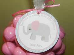 Elephant Girl Baby Shower Favor Tag, Baby Shower Elephant Theme, Elephant Baby Girl Shower Party , Baby Shower Gift Tag, Girl Elephant Theme. $8.00, via Etsy.