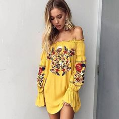 Bella Embroidered Mini Dress Yellow