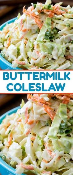 A creamy and delicious coleslaw with just the right amount of sweetness. Buttermilk Coleslaw – Buttermilk Coleslaw is perfectly creamy, crunchy, sweet and tangy. Spicy Recipes, Cooking Recipes, Healthy Recipes, Cake Recipes, Italian Recipes, Soup Recipes, Chicken Recipes, Southern Coleslaw, Recipes