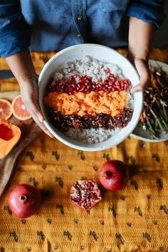 Inspired by colorful Suzanis motifs(which often include pomegranate symbols) and festive fruity holiday decor, try these two deliciously festive recipes featuring yummy pomegranate molasses. Roasted Carrots (side dish for 2-3, anytime of day) 3 small bunches of assorted carrots (McGrath Farms) Maldon Salt, to taste Pomegranate Molasses 1 cup glazed red walnuts ½ cup pomegranate …