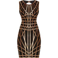 Herve Leger Romee Metallic Caging Bodycon Dress (28,280 MXN) ❤ liked on Polyvore featuring dresses, ribbon dress, cage dress, sleeveless dress, body con dress and zipper dress
