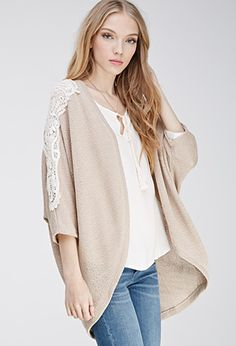 Crochet-Trimmed Batwing Cardigan | Forever 21 - 2000134641