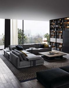 45 Awesome Modern Apartment Living Room Design Ideas 45 Awesome Modern Apartment Wohnzimmer Design-I Living Room Modern, Home Living Room, Apartment Living, Interior Design Living Room, Cozy Living, Small Living, Modern Couch, Living Area, Modern Sectional